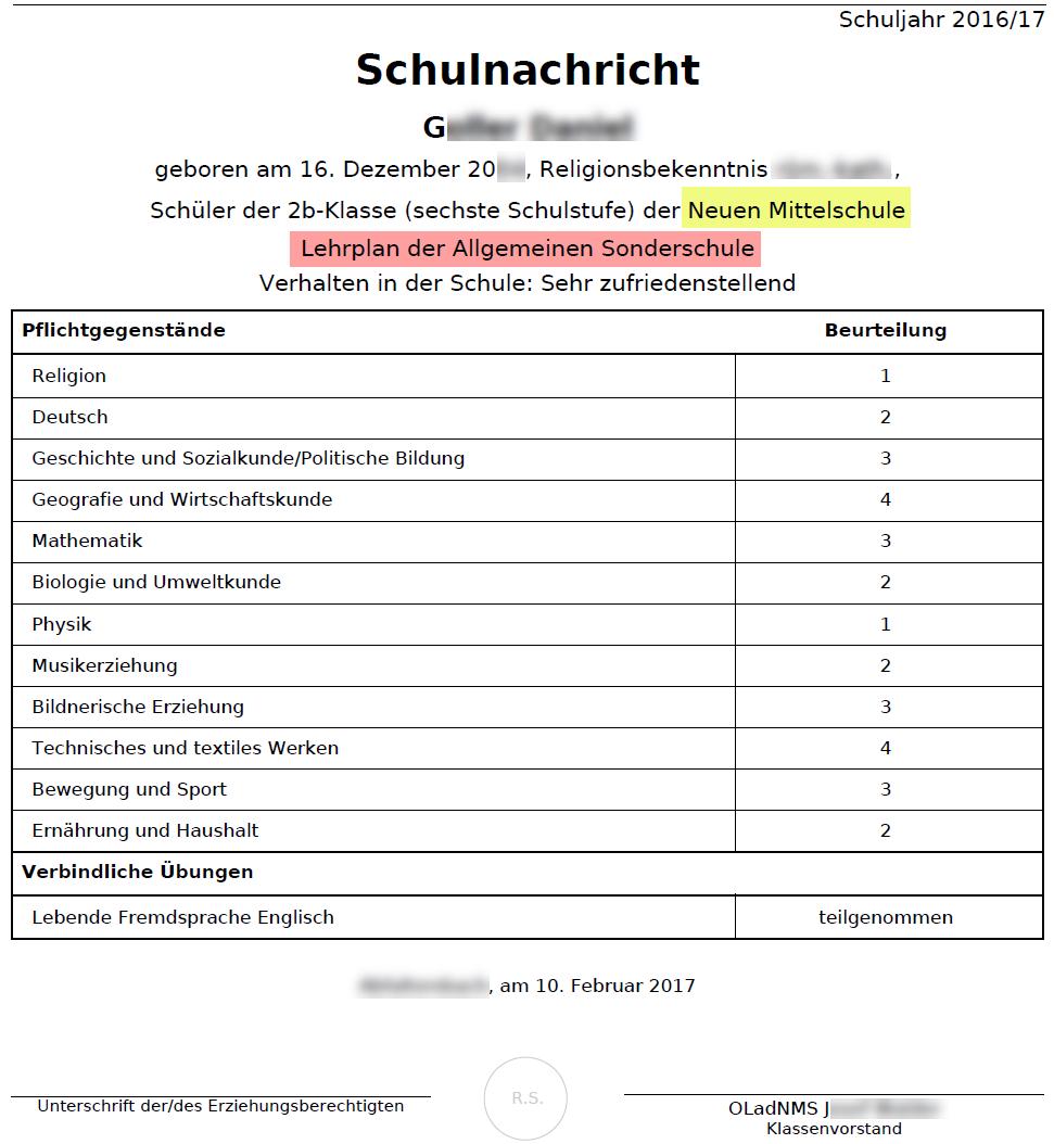 Integrationszeugnisse - SchulleiterInnen-Service - Wiki
